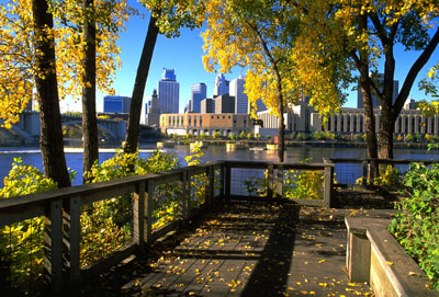 [Photo: View of downtown Minneapolis from Nicollet Island.]