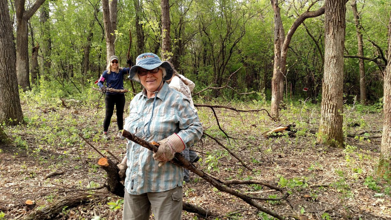 SuperVolunteer Mary hauling buckthorn at last year's event