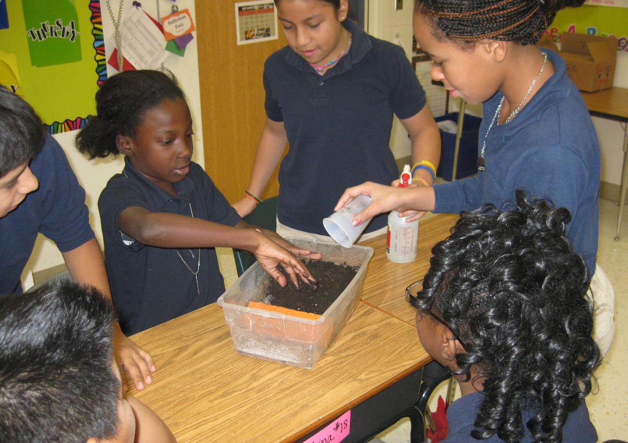 Students participating in a hands-on erosion lesson