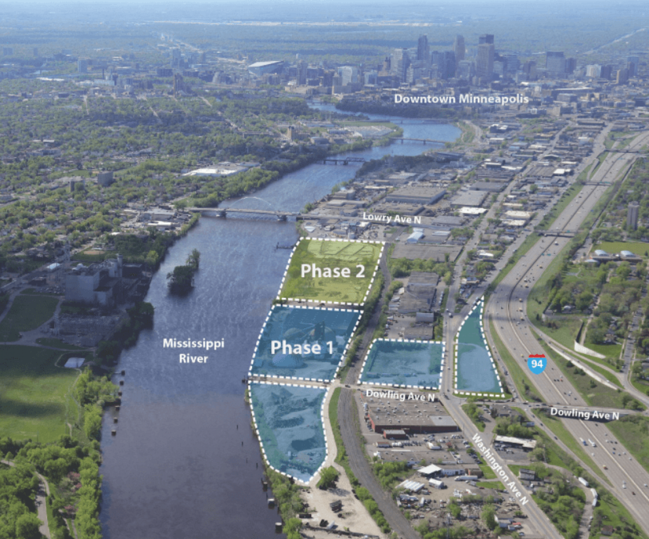 The massive Upper Harbor Terminal site along the Mississippi River in North Minneapolis.