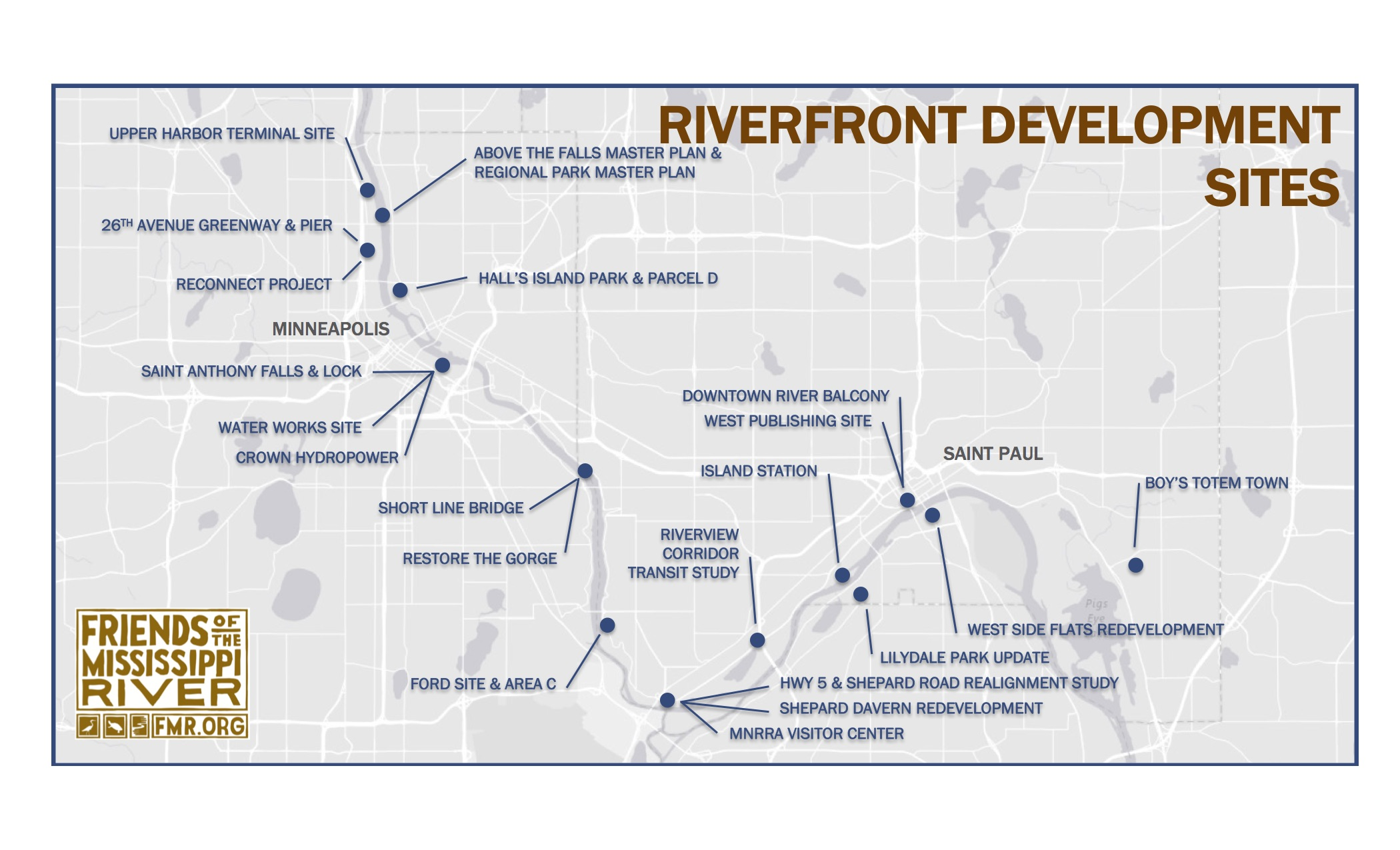 A map of FMR River advocacy sites in the Twin Cities