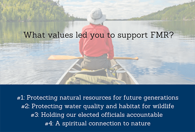 Top values include preserving our environment for future generations, protecting wildlife habitat, holding elected officials accountable and a spiritual connection to the river.