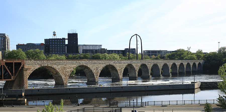 Beautiful stone bridge spanning the Mississippi River