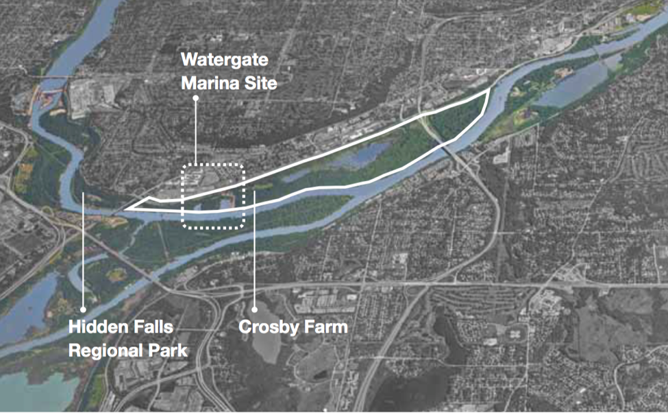 Map showing potential new center at Crosby Park just downstream from Hidden Falls.