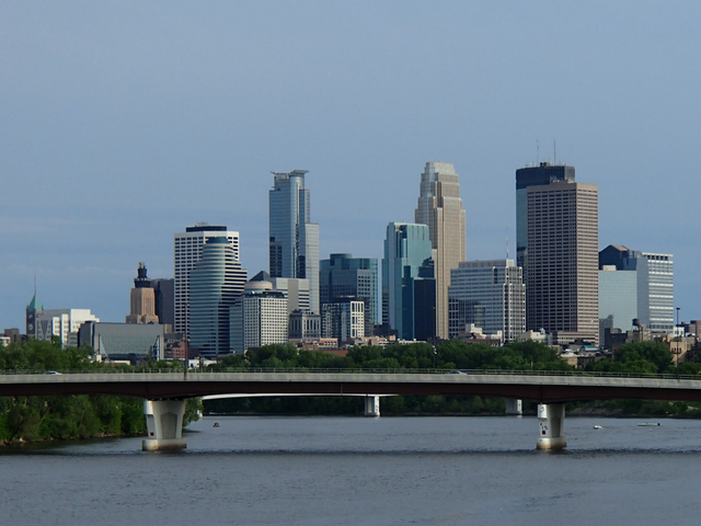 View of downtown Minneapolis from the Mississippi River