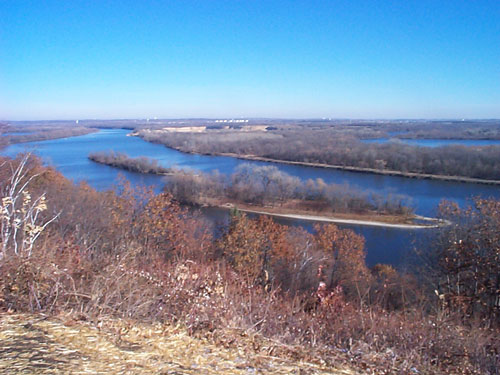 [Photo: A view of the Mississippi River from the Pine Bend Bluffs Scientific and Natural Area]