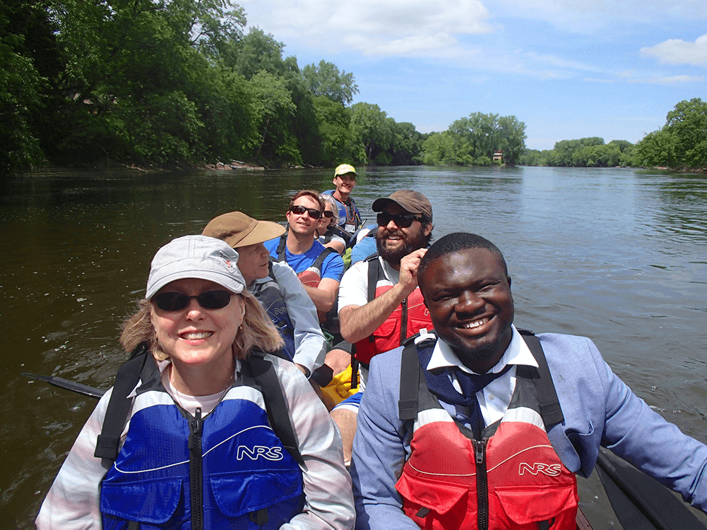 FMR staff and board in canoe