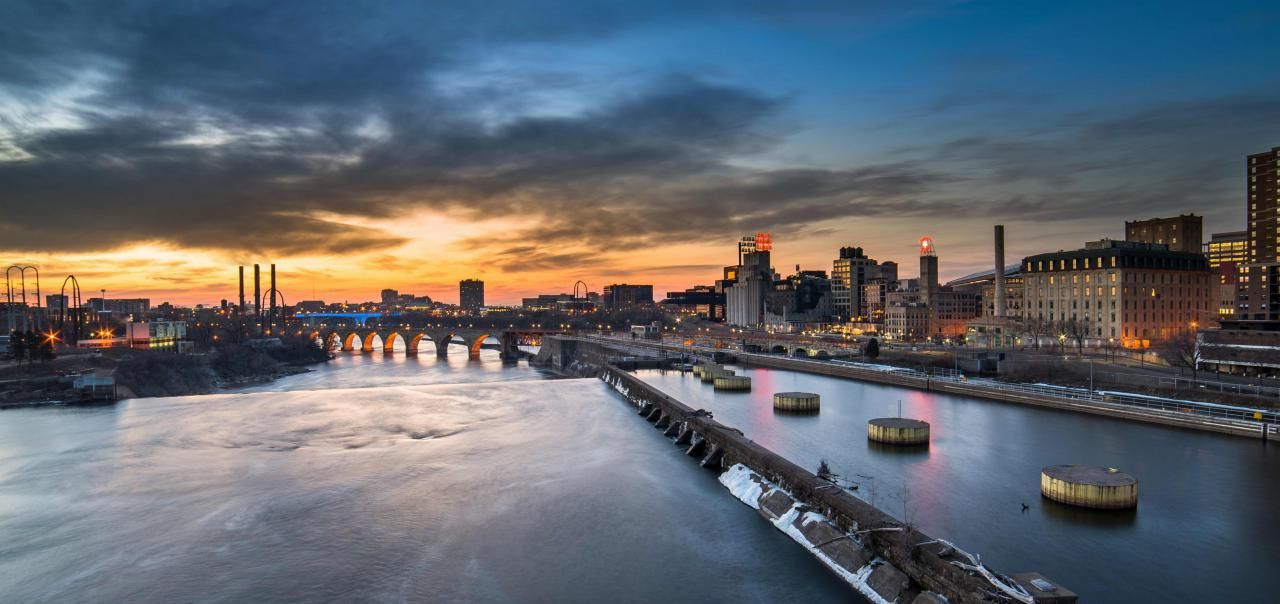 Sun setting on downtown Minneapolis and our Mighty Mississippi