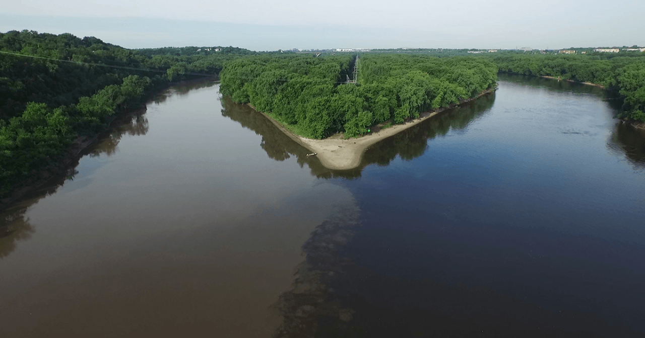 Mississippi and Minnesota rivers confluence