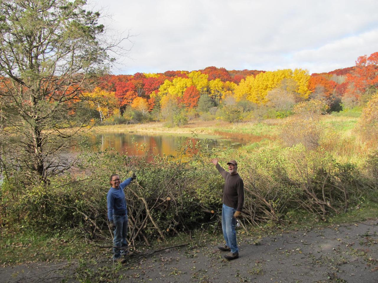 Two volunteers at Ravine Lake