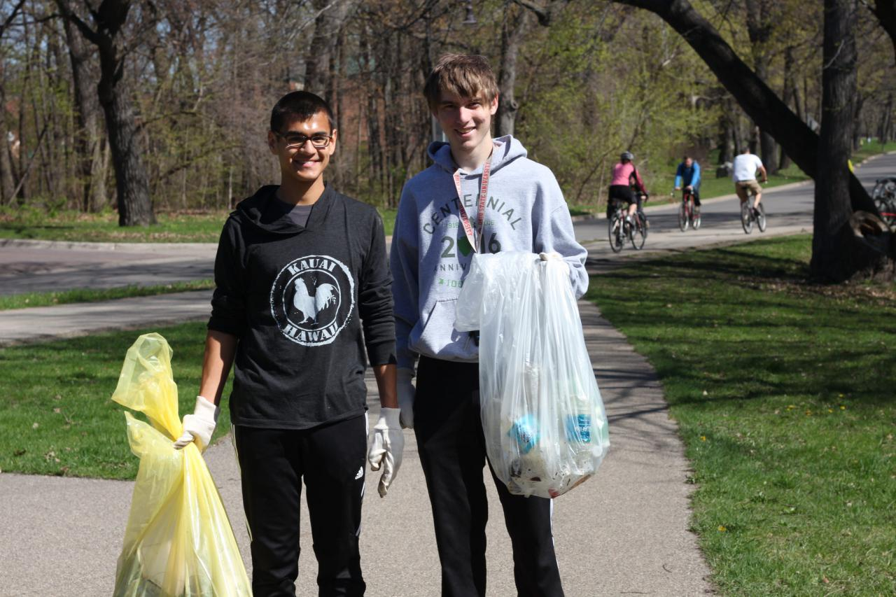 Volunteers with their Earth Day cleanup haul from the 2017 event