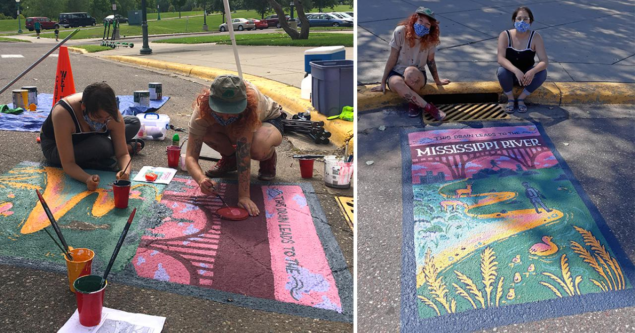 Artists work on mural and pose with finished mural