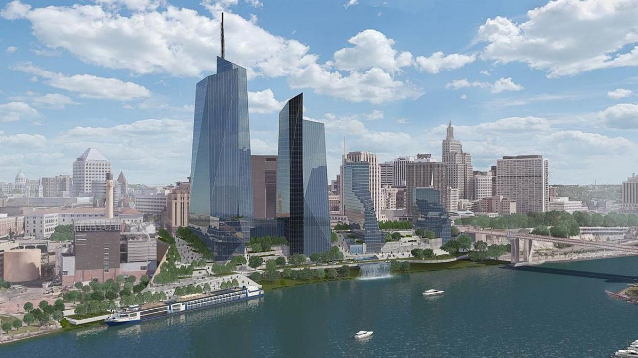 St. Paul riverfront development proposal rendering