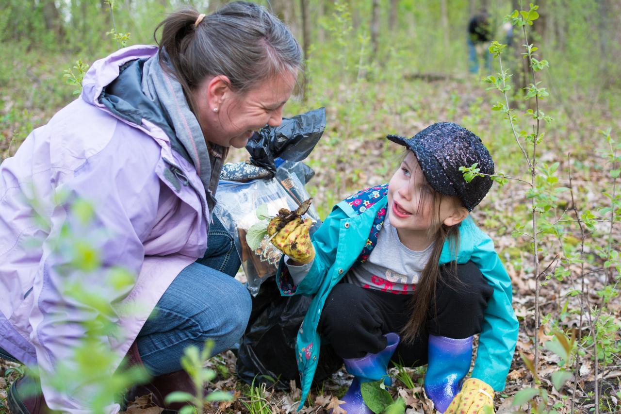 Volunteers pull invasives at Riverside Park