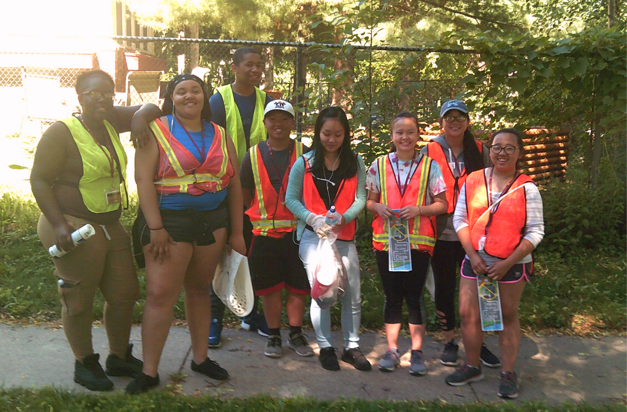 Students help stencil storm drains in 2018