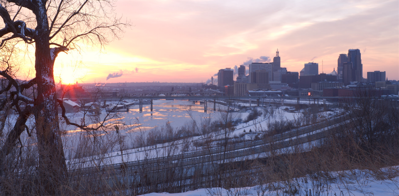 Setting sun over river, view from Indian Mounds Park. By Tom Reiter.
