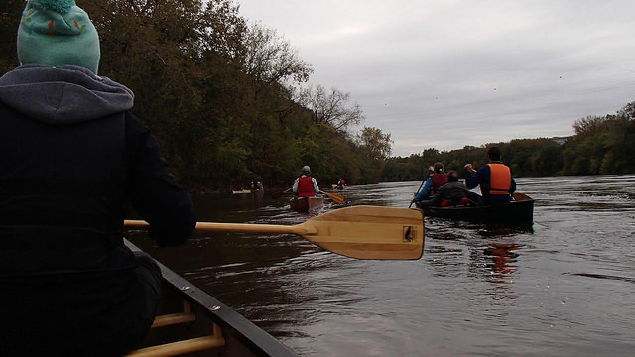 Canoes on the Mississippi River