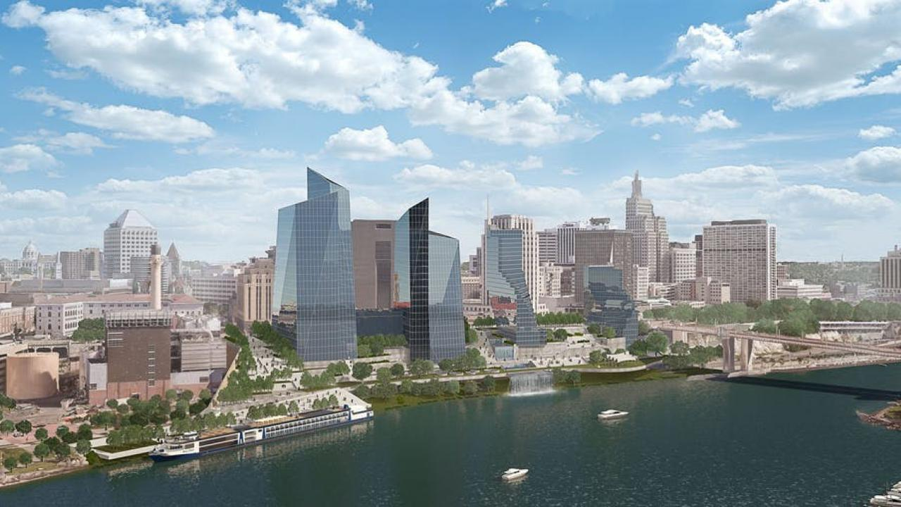 Rendering of St. Paul riverfront with tall buildings