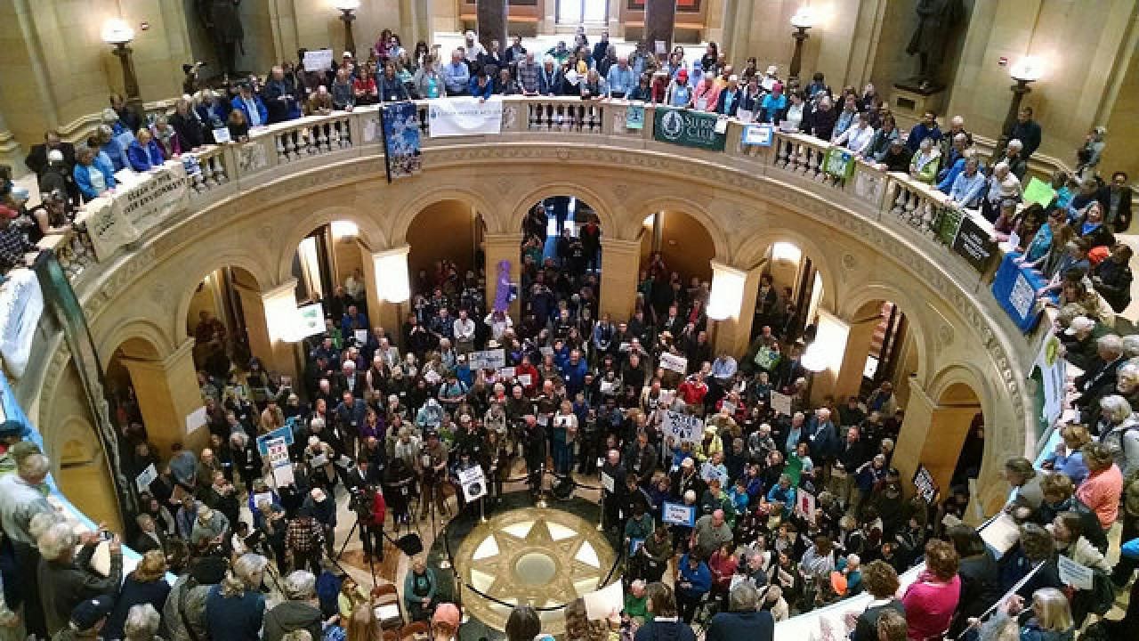 Our Capitol rotunda, full of hundreds of Minnesotans calling on legislators to support clean water.